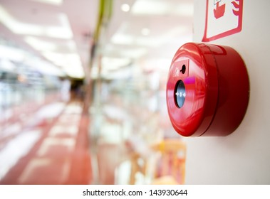 Fire alarm on the wall of shopping center.