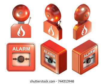Fire alarm parts. 3D illustration with clipping path included.