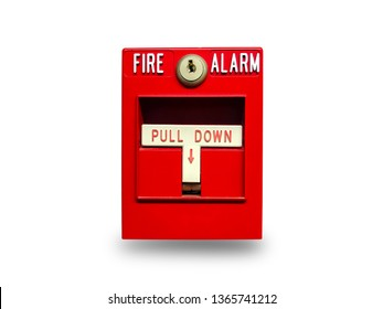 Fire alarm switch isolate on white background. Pull danger fire safety box on white background.