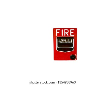 Fire alarm system notifier.  Bell warning equipment for use when on fire (Manual Pull Station). Isolated on white
