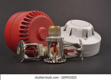 fire alarm system, sprinklers; selective focus