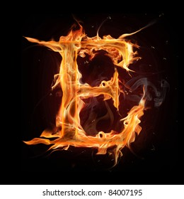 "Fire alphabet letter ""E"""