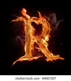 "Fire alphabet letter ""R"""