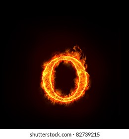 fire alphabets in flame, small letter O