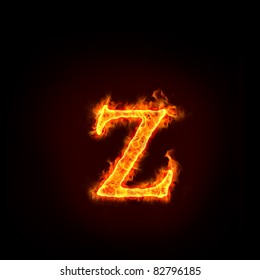 fire alphabets in flame, small letter Z