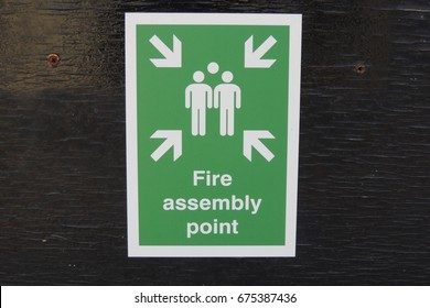 Fire assembly point - a sign in Looe, Cornwall