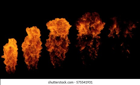 Fire ball explosion from bottom to top, fire flamethrower isolated on black background with alpha channel, perfect for cinema, digital composition, video mapping.
