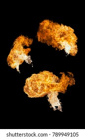 Fire ball explosion from bottom to top