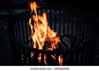 Fire in the fire basket