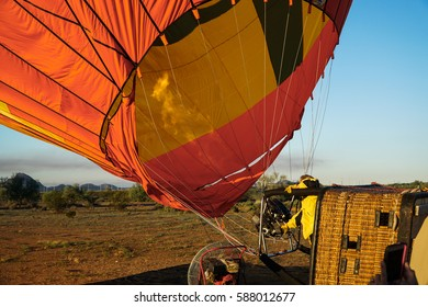 Fire Blowing Hot Air into Hot Air Balloon