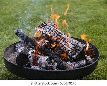 fire bowl with wood and flames in a garden
