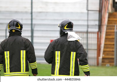 fire brigade with helmet for the security service in the stadium