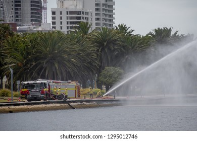 Fire brigade rescue practicing in Perth at the seaside