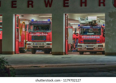 Fire brigade vehicles in the fire station