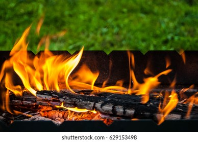 Fire burning in the brazier