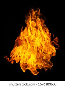 Fire and burning flame isolated on dark background for graphic design purpose