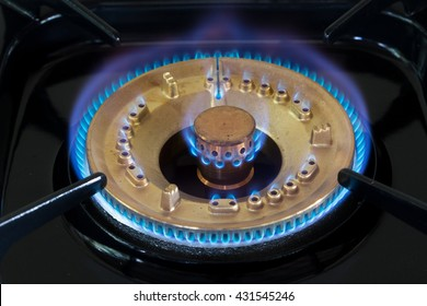 fire burning  from gas stove