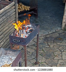 Fire burning in the hearth. Mangal