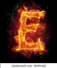 """Fire burning letter """"E"""""""