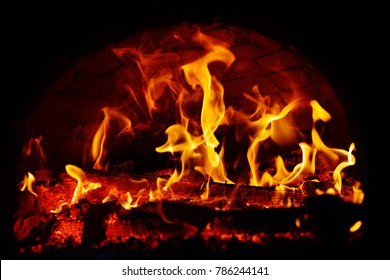 Fire burning in the night.