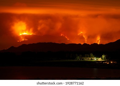 Fire burning on the mountains of Franschhoek