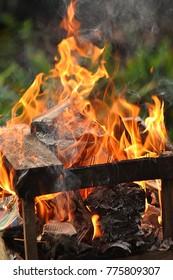 Fire burning wood & box