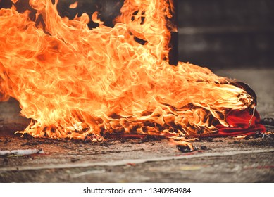 The fire burns with a bright flame after the explosion. Background with burning fire