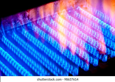 The fire burns from a gas burner inside the boiler.