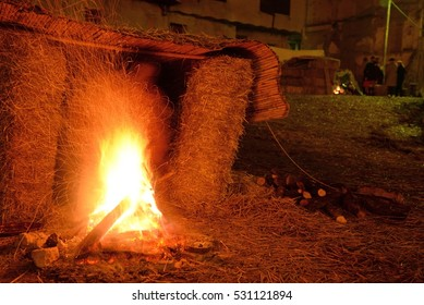 Fire camp with sparks in a medieval environment.
