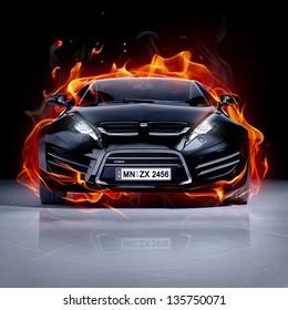 Fire car on ice. Brandless sports car.