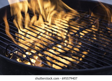 Fire in a charcoal grill.
