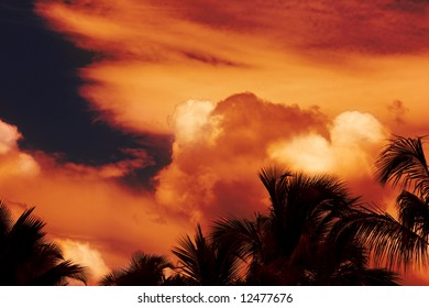 Fire in the cloudy Tropical sky