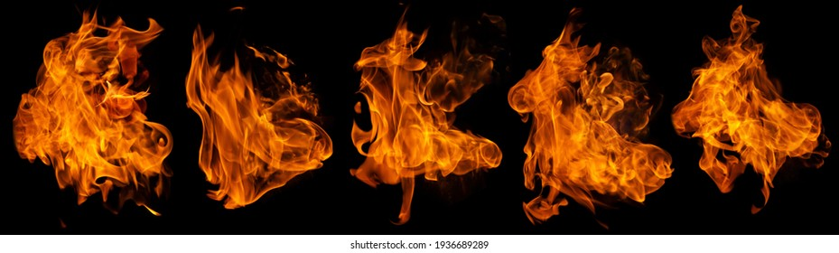 Fire collection set of flame burning isolated on dark background for graphic design purpose