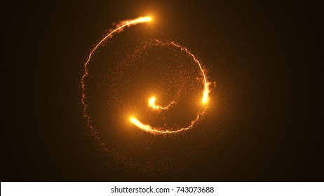 Fire comet light flying in circle. Shining lights in motion with small particles. Ring of fire, Plasma ring on a dark background. 3D rendering, Abstract background.