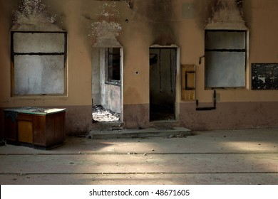 Fire damage stock images royalty free images vectors for How to clean smoke damage from painted walls