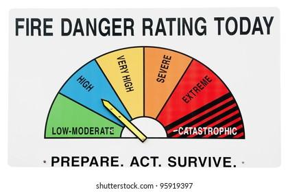 Fire danger alert sign isolated