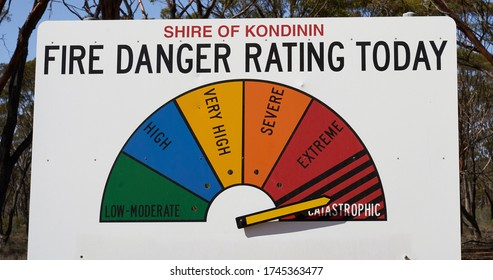 Fire Danger Rating Display Board. Sign has half circle broken up to segments representing fire danger level. Dial gauge set to Catastrophic I