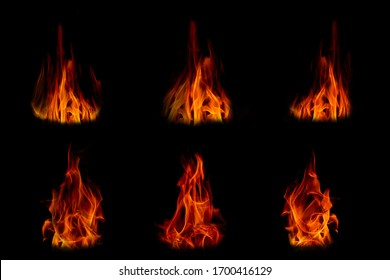 Fire in the dark. /The flame in the black background. - Shutterstock ID 1700416129