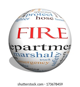 Fire Department 3D sphere Word Cloud Concept with great terms such as engine, truck, hose and more.