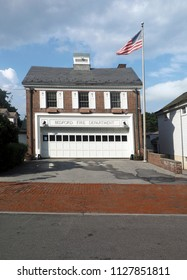 fire department building with American flag Bedford Village New York USA