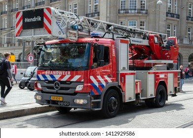 Fire Department Truck At The Leidseplein At Amsterdam The Netherlands 2019