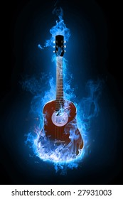 Fire electric guitar on background