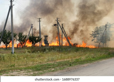 fire electrical poles in the field