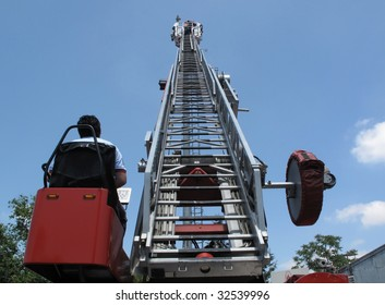Fire Extension Ladder Truck Images, Stock Photos & Vectors