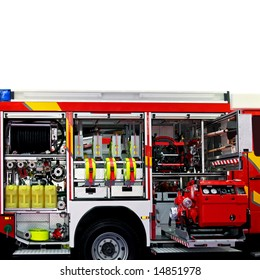 Fire engine truck with lot of rescue equipment