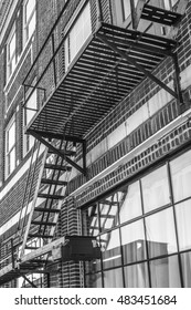 Fire escape of the historic Texaco Building, Norfolk, Va. This building serves as the welcoming entrance to the city's NEON District, an artistic community christened in 2015.