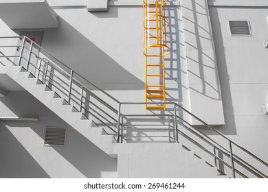 Fire escape ladder on the side of building