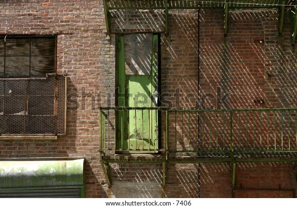 fire escape on brick building