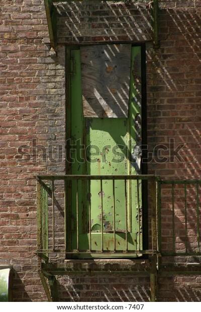 fire escape on brick building