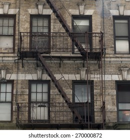 Fire Escape on exterior of a building, Midtown, New York City, New York State, USA